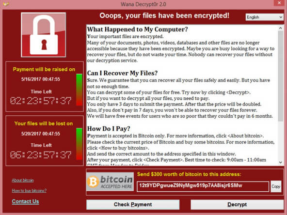 WannaCry screen: Example of Ransomware