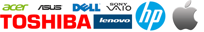 HP, Toshiba, Dell, Acer, Asus, Sony and Apple logos