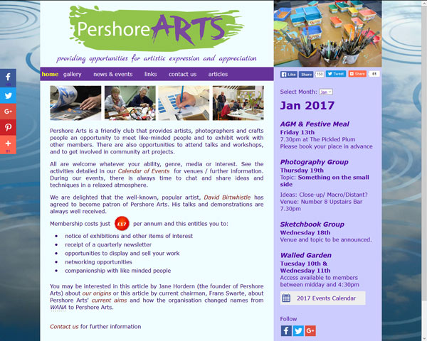 Pershore Arts Website